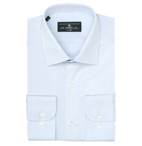 Camisa Formal Wear SLIM FIT cuello italiano modelo ROMA tejido micro dibujo color celeste, 100% Algodón.