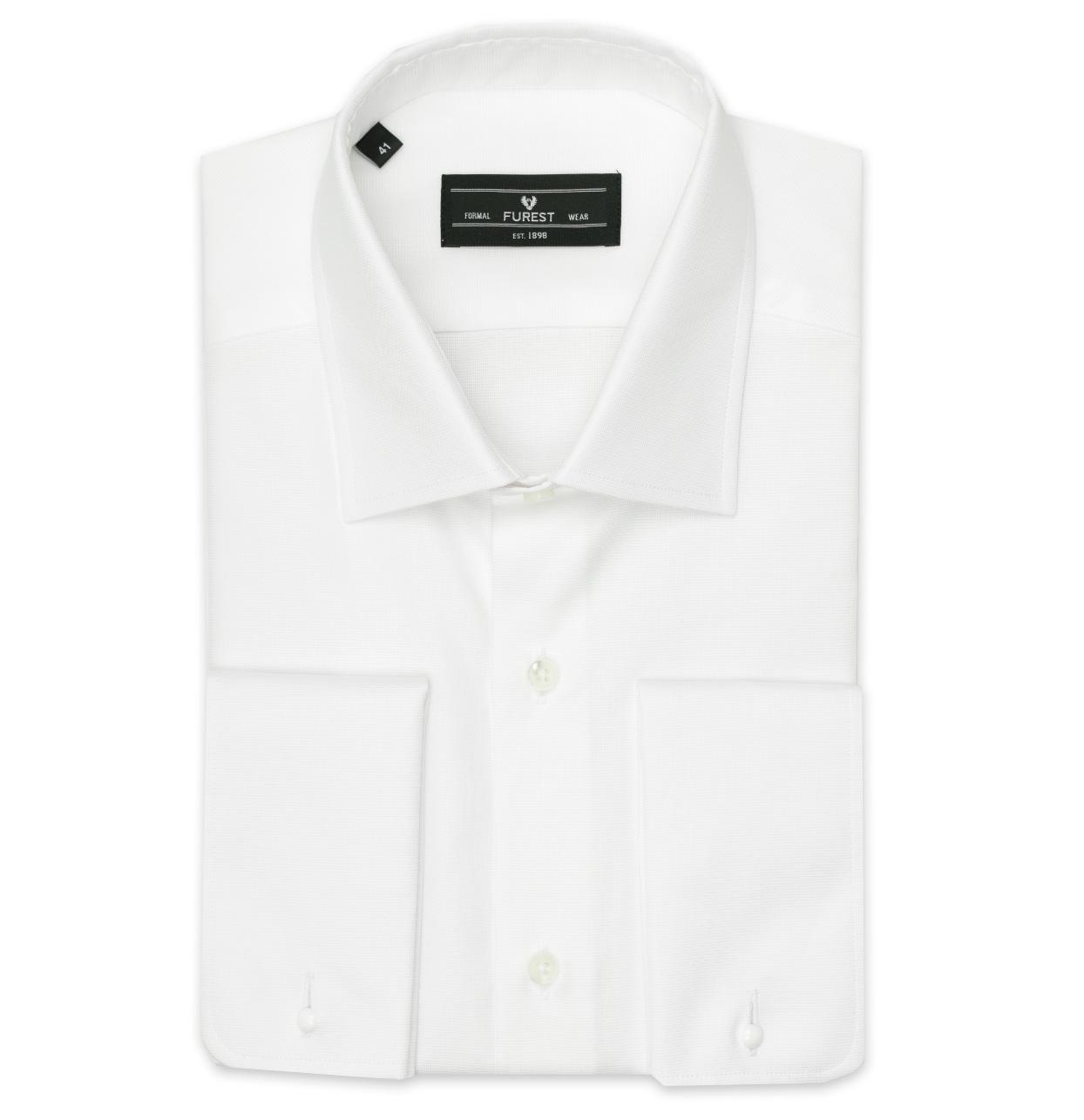 Camisa Formal Wear REGULAR FIT cuello Italiano y puño doble modelo ROMA tejido micro textura color blanco, 100% Algodón.