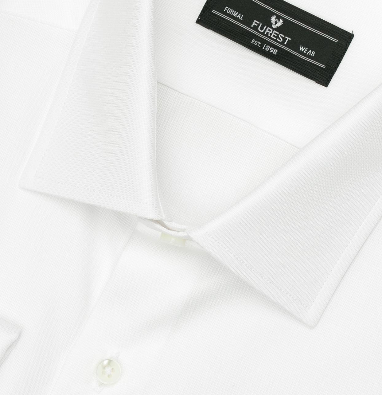 Camisa Formal Wear REGULAR FIT cuello Italiano y puño doble modelo ROMA tejido micro textura color blanco, 100% Algodón. - Ítem1