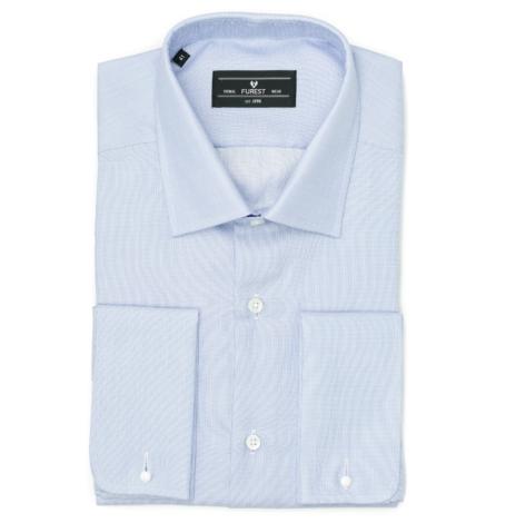 Camisa Formal Wear REGULAR FIT cuello Italiano y puño doble modelo ROMA Tejido micrograbado color azul, 100% Algodón.