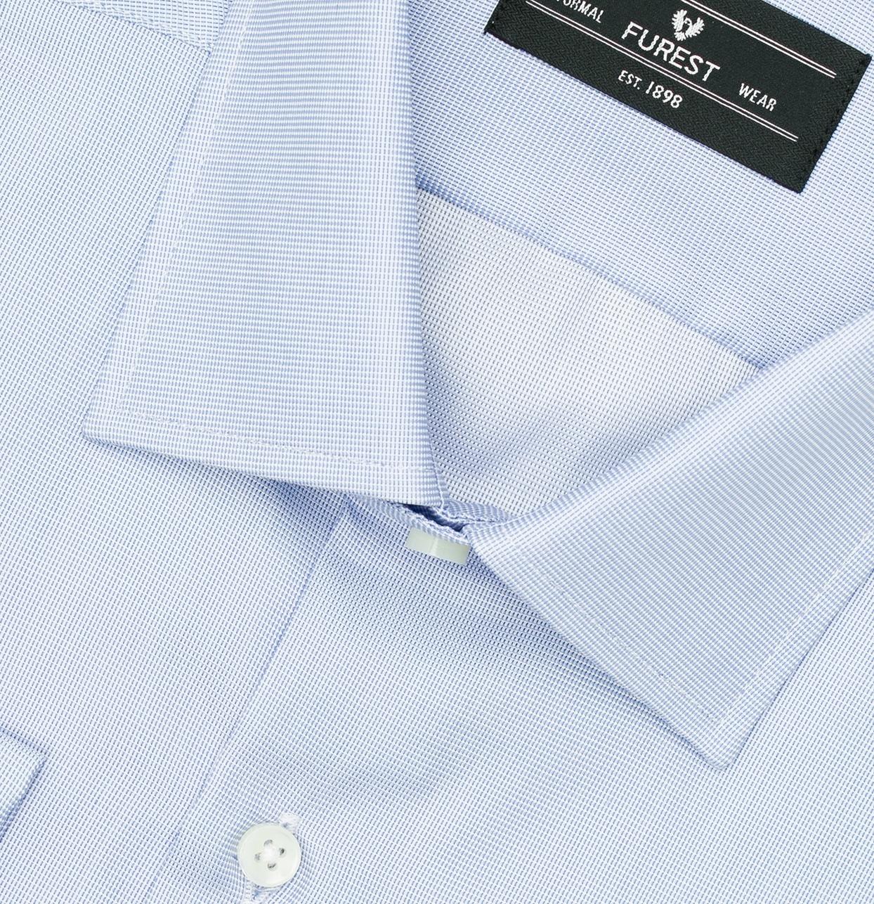 Camisa Formal Wear REGULAR FIT cuello Italiano y puño doble modelo ROMA Tejido micrograbado color azul, 100% Algodón. - Ítem1