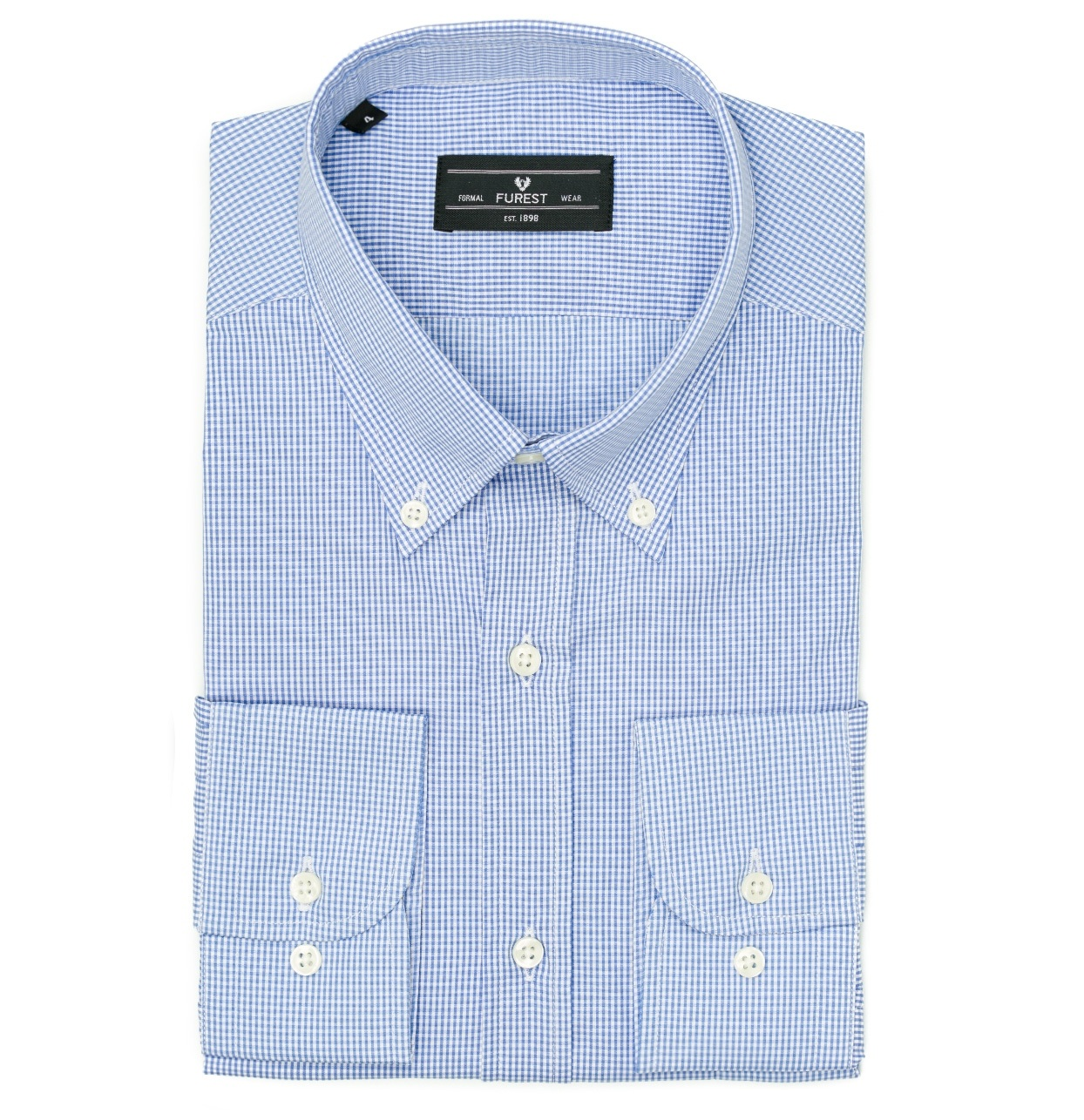 Camisa Formal Wear REGULAR FIT Modelo BOTTON DOWN Tejido micro cuadro color azul, 100% Algodón
