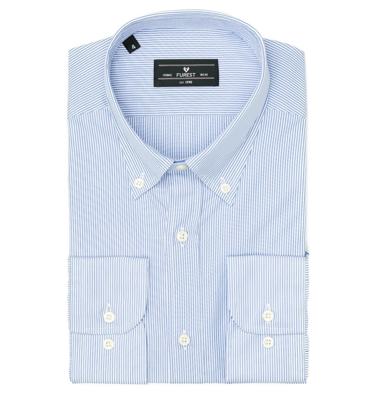 Camisa Formal Wear REGULAR FIT modelo BUTTON DOWN tejido rayas color azul,100% Algodón.