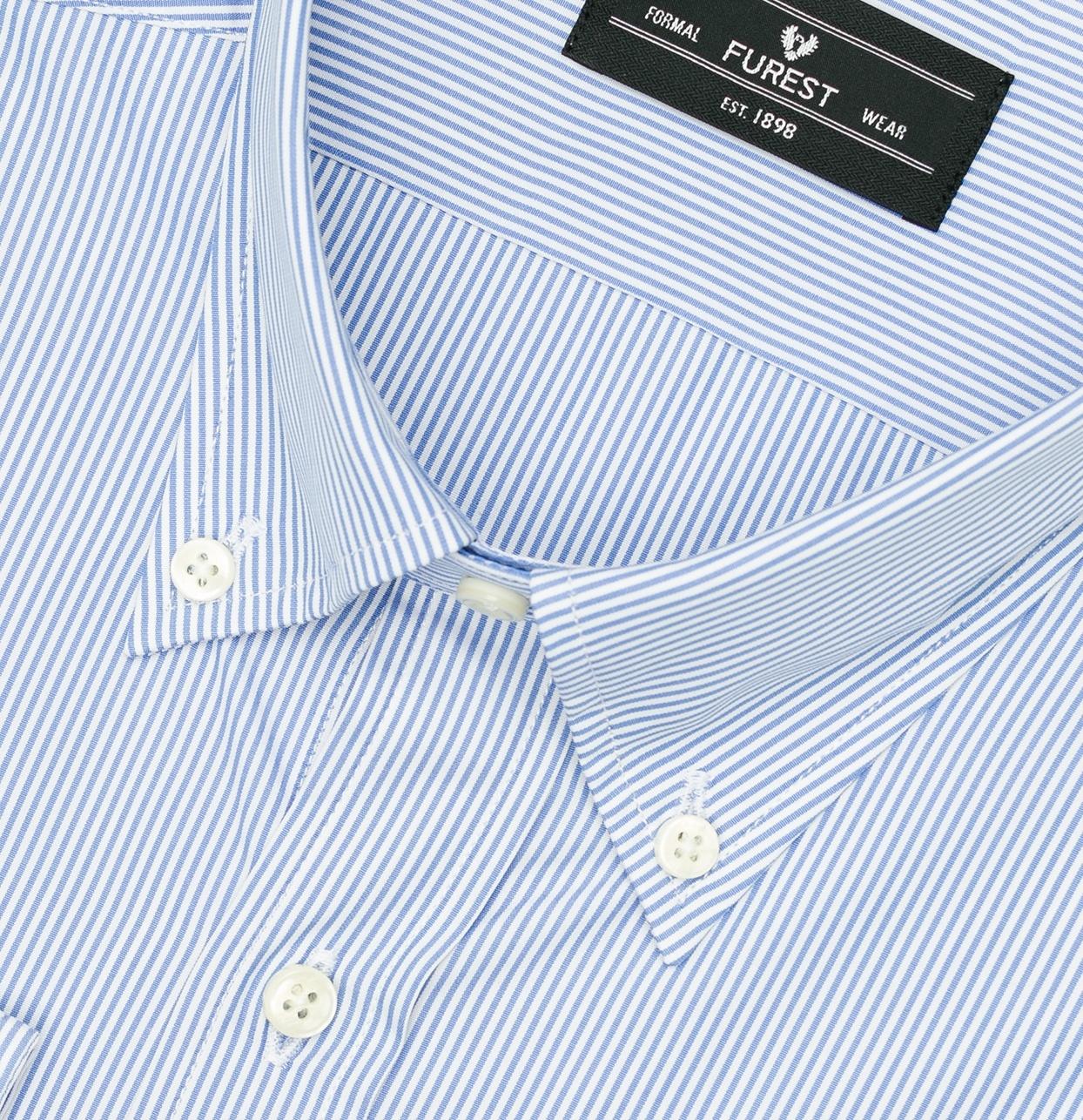 Camisa Formal Wear REGULAR FIT modelo BUTTON DOWN tejido rayas color azul,100% Algodón. - Ítem1