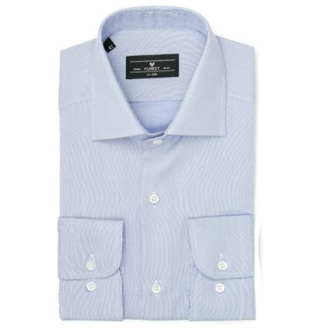 Camisa Formal Wear REGULAR FIT cuello Italiano modelo NAPOLI tejido micro rayas color azul, 100% Algodón.