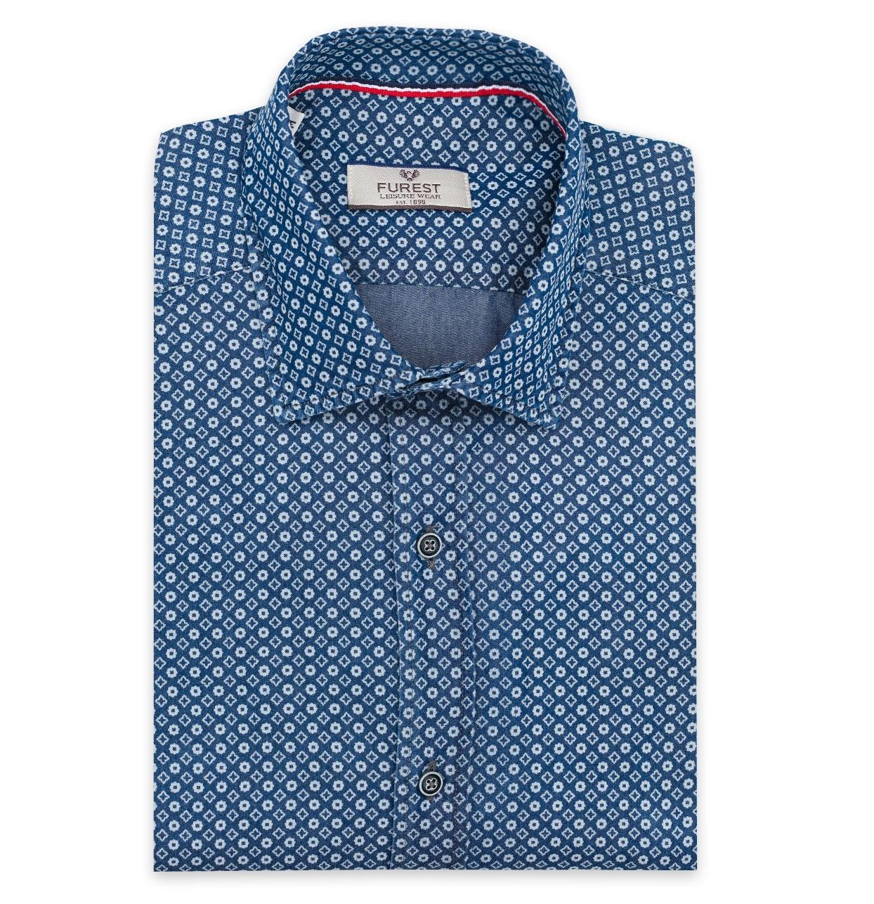 Camisa Leisure Wear REGULAR FIT Modelo PORTO dibujo geométrico color azul denim, 100% Algodón.