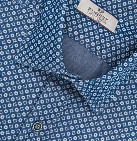 Camisa Leisure Wear REGULAR FIT Modelo PORTO dibujo geométrico color azul denim, 100% Algodón. - Ítem1