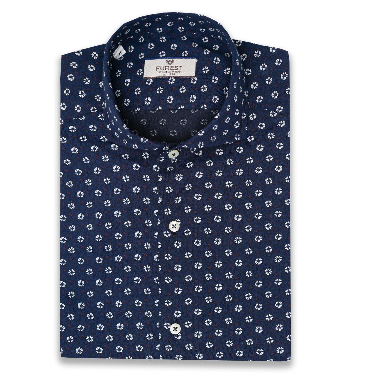 Camisa Leisure Wear SLIM FIT Modelo CAPRI color azul marino con estampado floral, 100% Algodón.