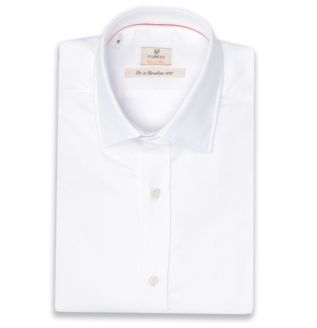 Camisa Casual Wear SLIM FIT Modelo PORTO tejido oxford color blanco, 100% Algodón.