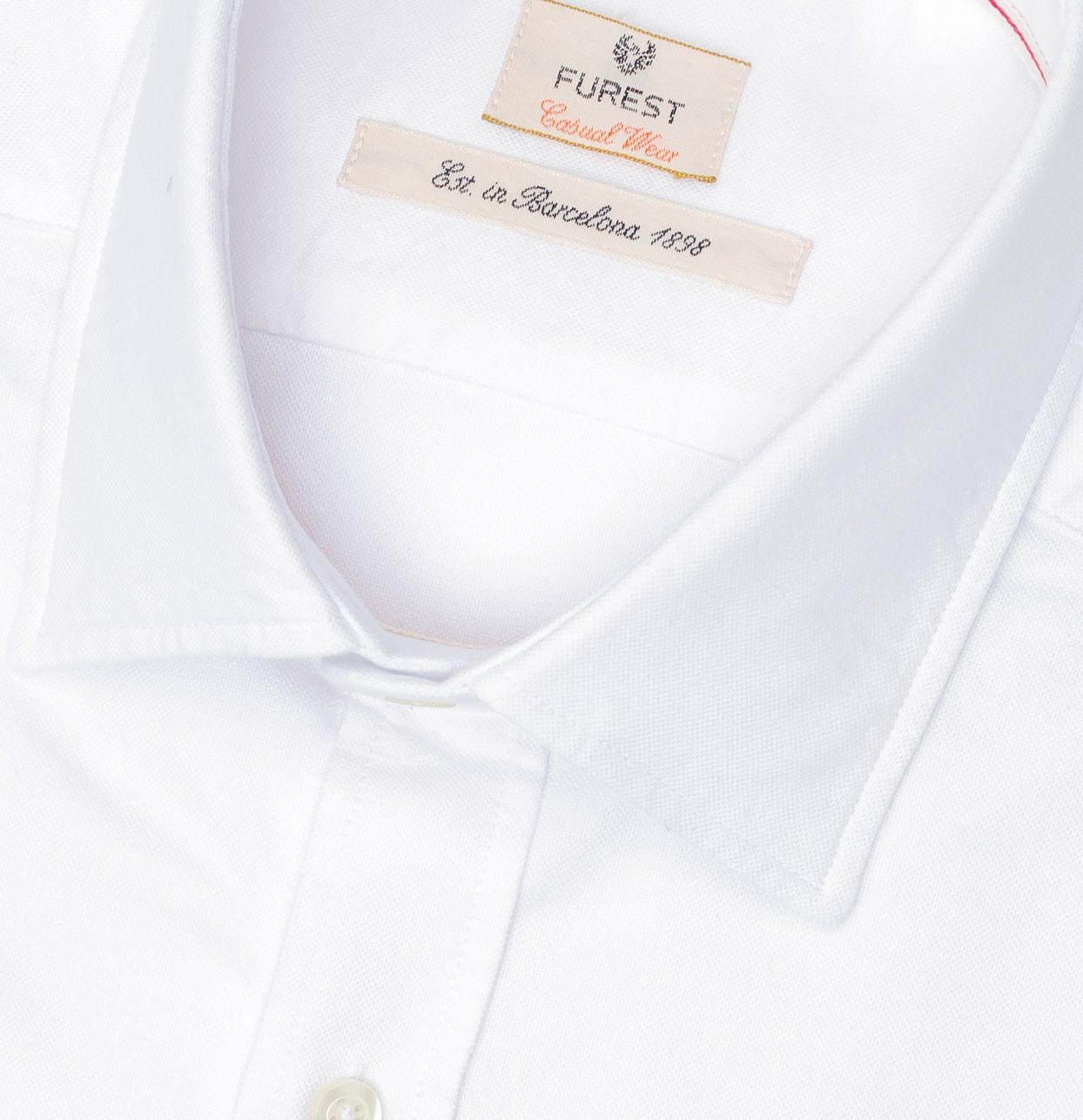 Camisa Casual Wear SLIM FIT Modelo PORTO tejido oxford color blanco, 100% Algodón. - Ítem1