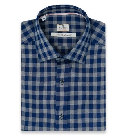 Camisa Casual Wear SLIM FIT modelo PORTO tejido espiga cuadros color azul y gris, 100% Algodón.