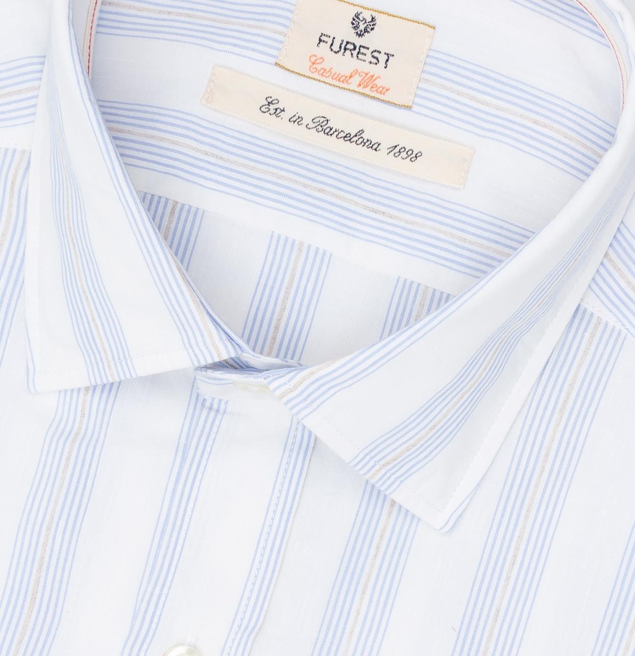 Camisa Casual Wear SLIM FIT modelo PORTO fondo blanco rayas azules, 100% Algodón. - Ítem1