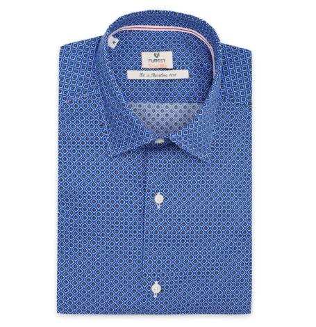Camisa Casual Wear SLIM FIT Modelo PORTO dibujo geométrico color azul, 100% Algodón.
