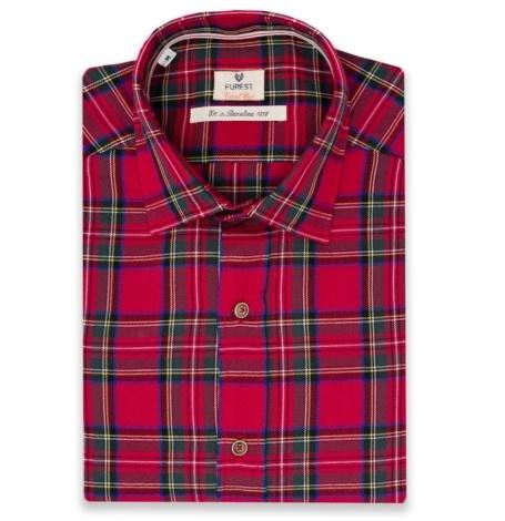 Camisa Casual Wear SLIM FIT modelo PORTO maxi cuadros color rojo, 100% Algodón.