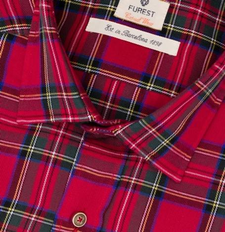 Camisa Casual Wear SLIM FIT modelo PORTO maxi cuadros color rojo, 100% Algodón. - Ítem1
