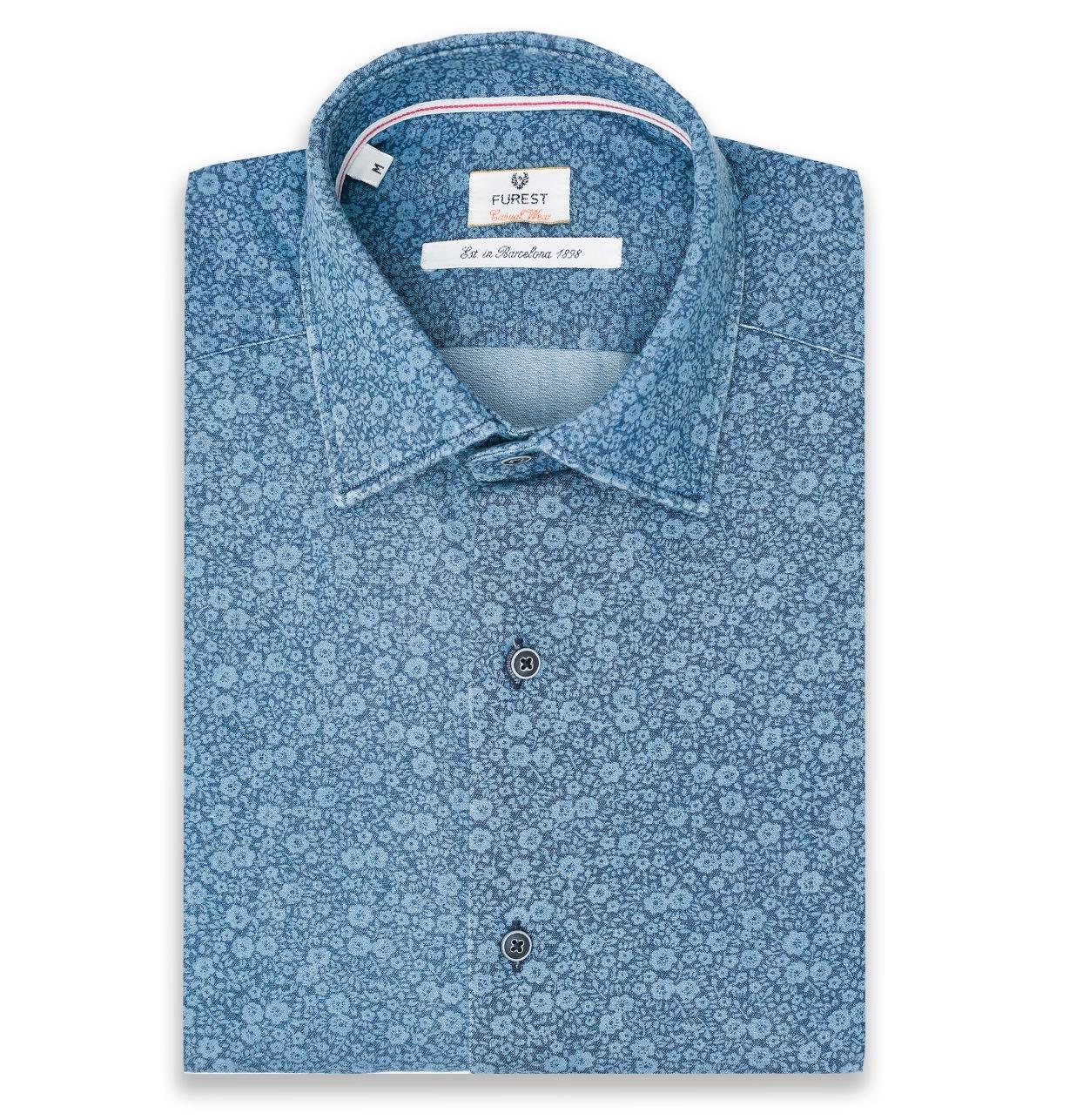 Camisa Casual Wear SLIM FIT Modelo PORTO color azul denim con estampado floral, 100% Algodón.