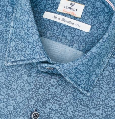 Camisa Casual Wear SLIM FIT Modelo PORTO color azul denim con estampado floral, 100% Algodón. - Ítem1