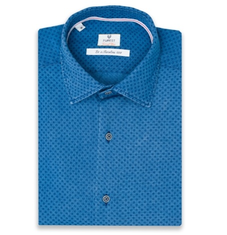 Camisa Casual Wear SLIM FIT Modelo PORTO color azul denim con micro dibujo, 100% Algodón.