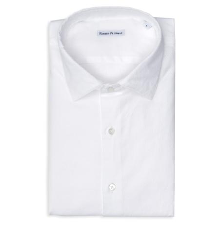 Camisa sport SLIM FIT modelo LEO RL micro grabado color blanco, 100% Algodón.