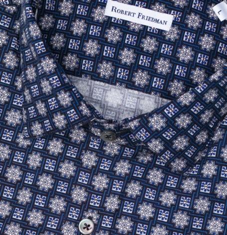 Camisa sport SLIM FIT modelo LEO RL dibujo geométrico color azul 100% algodón - Ítem1