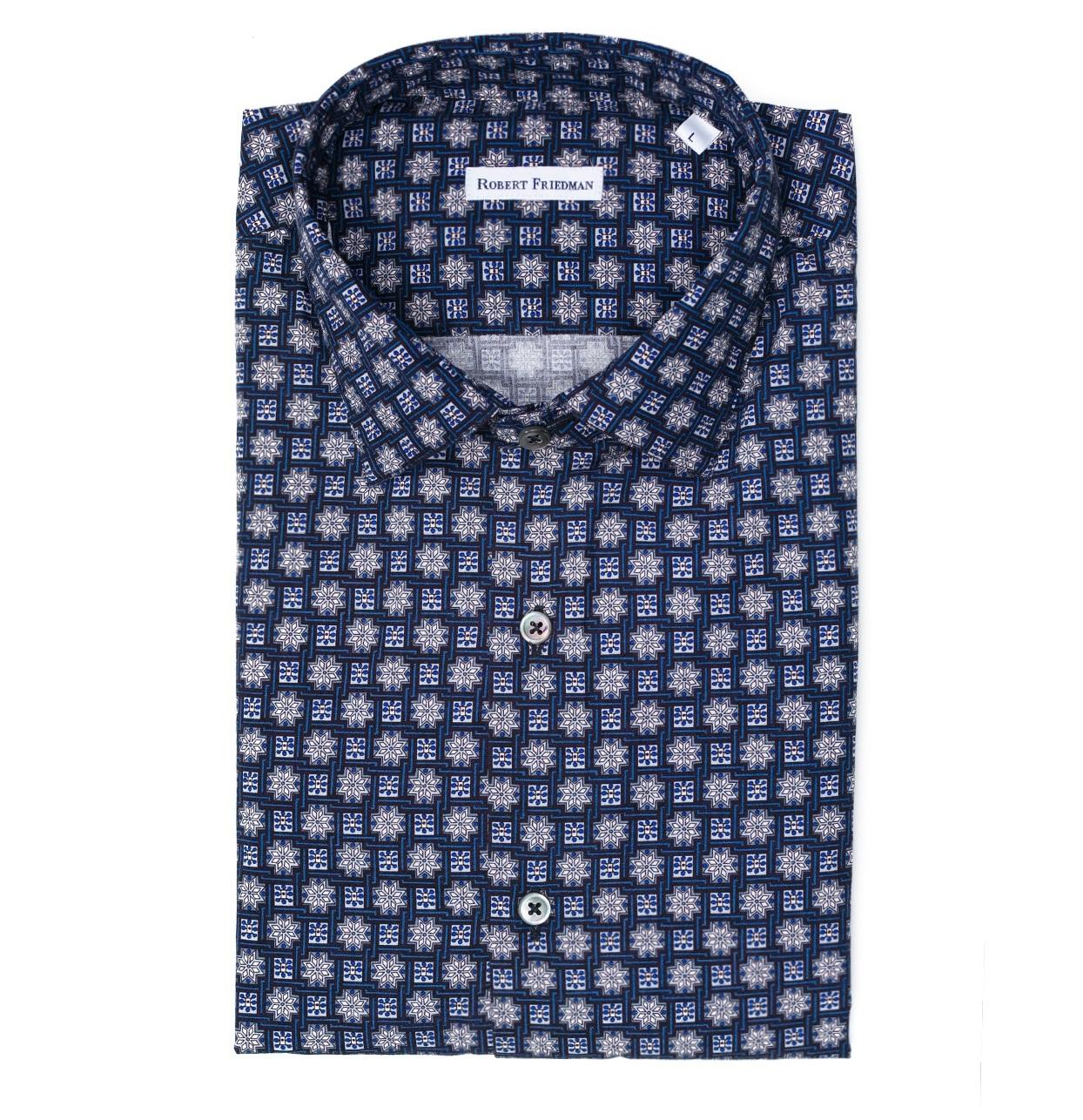 Camisa sport SLIM FIT modelo LEO RL dibujo geométrico color azul 100% algodón