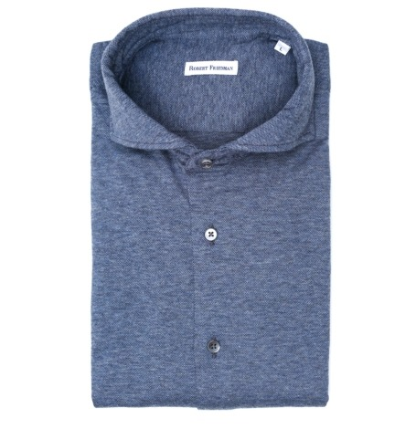 Camisa sport afranelada modelo LUCA RF microdibujo color azul 100% algodón.