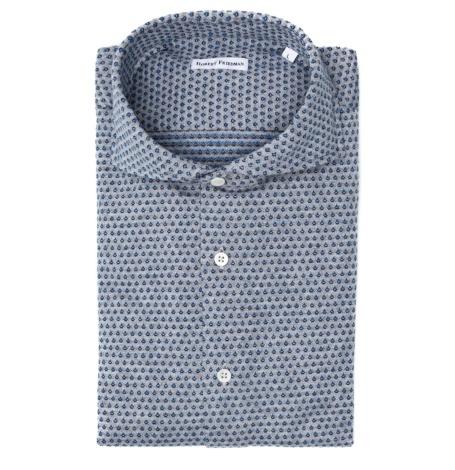 Camisa sport de punto SLIM FIT modelo LUCA RF microdibujo color gris 100% algodón