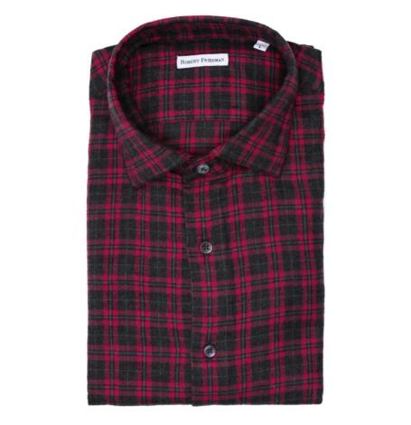 Camisa sport afranelada SLIM FIT modelo LEO R dibujo a cuadros gris y grosella 100% algodón