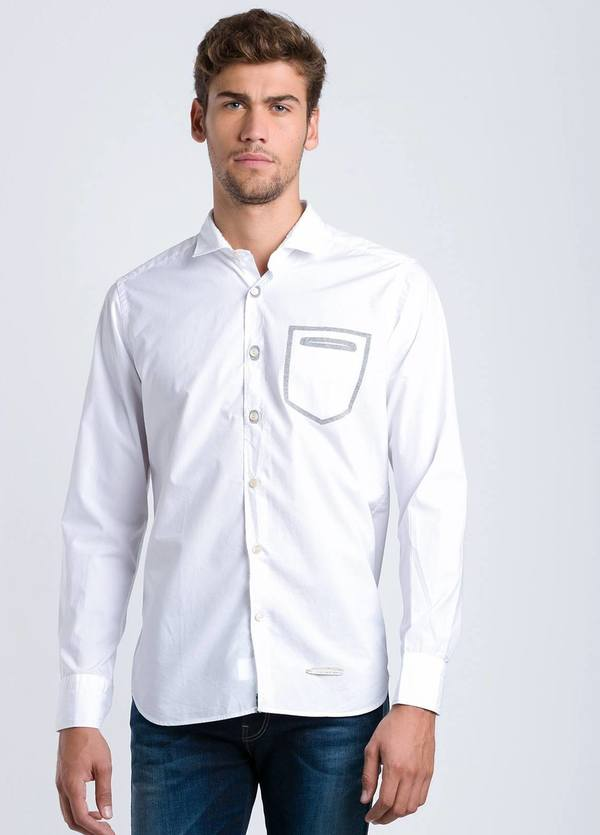 Camisa sport lisa SLIM FIT color blanco con detalle bolsillo, 100% Algodón.