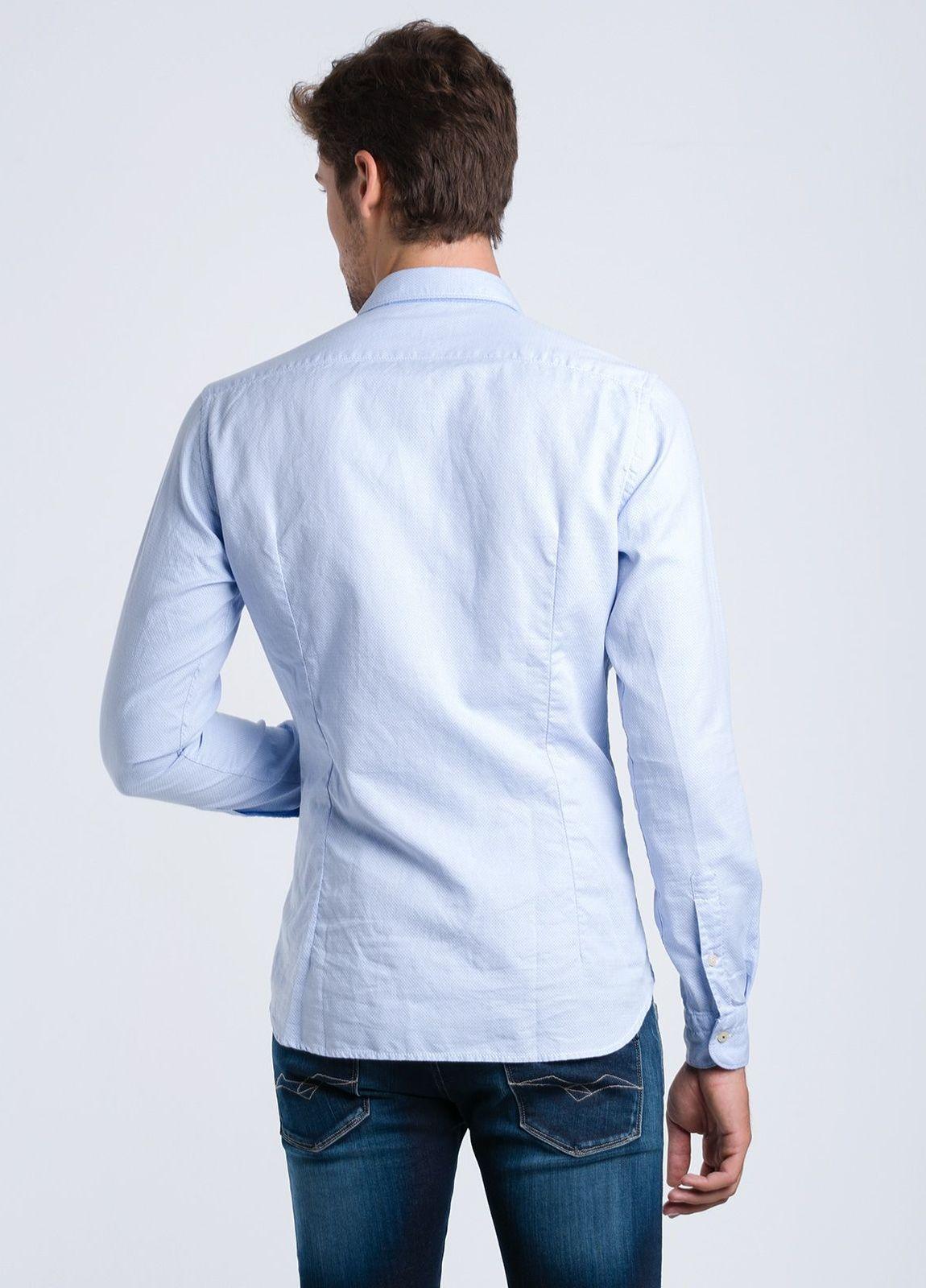 Camisa sport lisa SLIM FIT color celeste con textura, 100% Algodón. - Ítem1