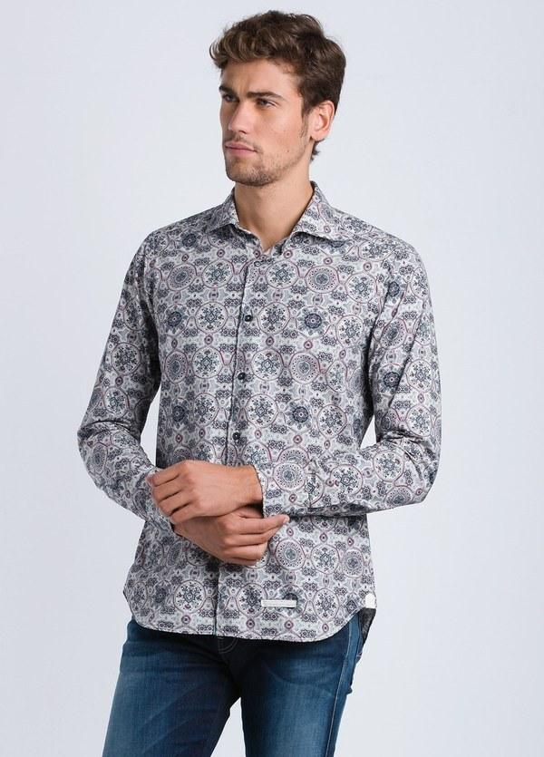 Camisa sport estampado geométrico SLIM FIT color gris, 100% Algodón.