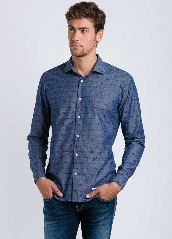 Camisa sport dibujo SLIM FIT color azul, 100% Algodón.