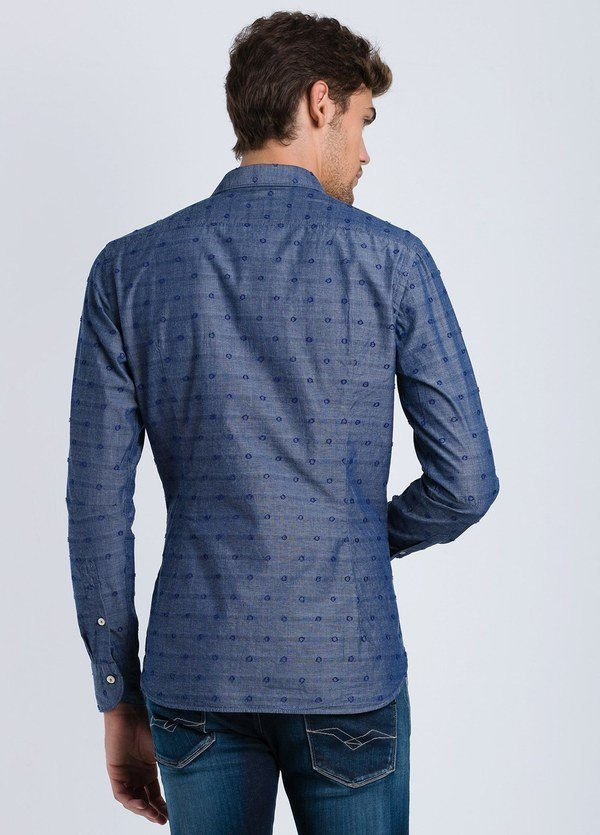 Camisa sport dibujo SLIM FIT color azul, 100% Algodón. - Ítem1