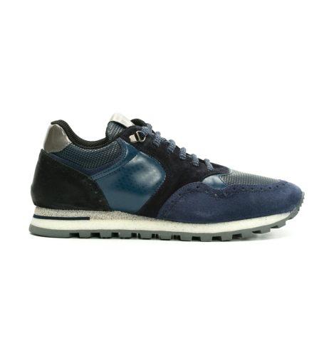 Calzado Sport color azul y combinación de serraje y piel.