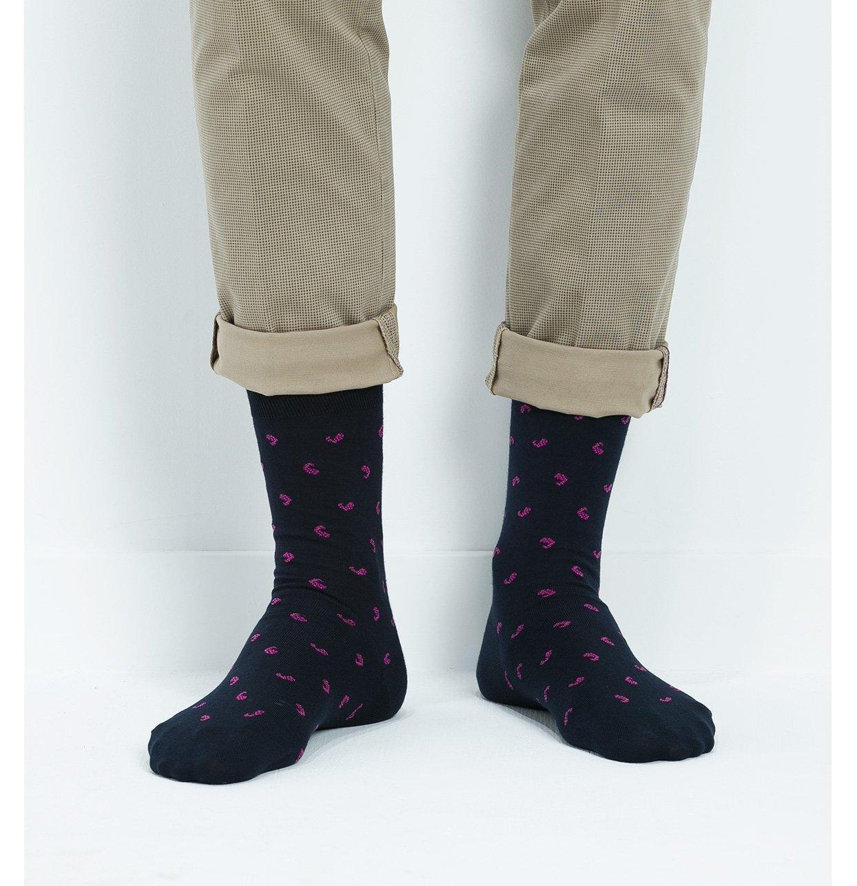 Calcetín corto estampado fantasia color marino,100% algodón