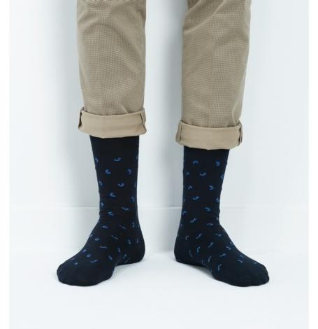 Calcetin corto, estampado fantasía, color marino,100% algodón