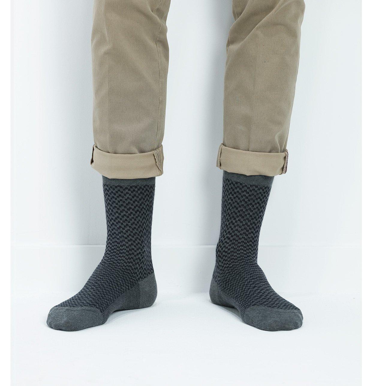 Calcetin corto estampado fantasia, color gris, 100 algodón.
