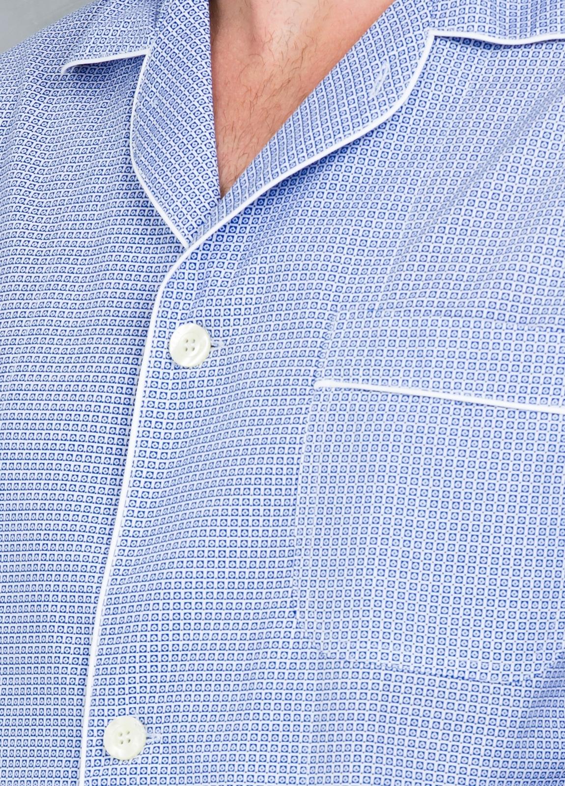 Pijama LARGO dos piezas, pantalón largo con cinta no elástica y funda incluida color azul con micro dibujo, 100% Algodón. - Ítem3