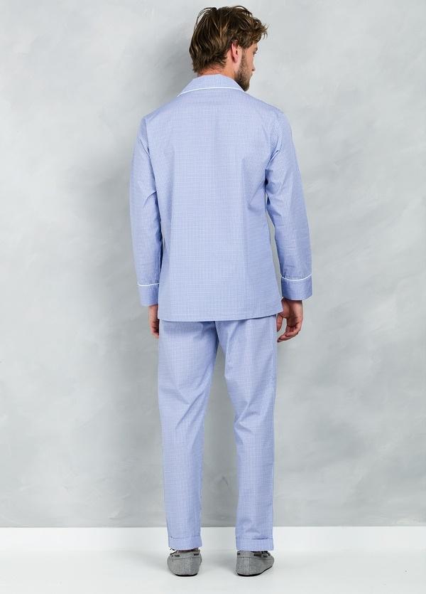 Pijama LARGO dos piezas, pantalón largo con cinta no elástica y funda incluida color azul con micro dibujo, 100% Algodón. - Ítem2