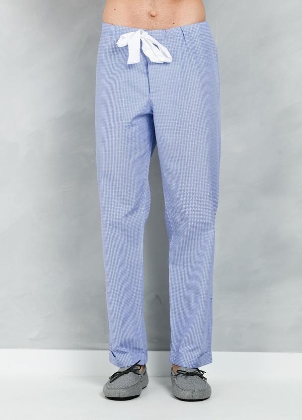 Pijama LARGO dos piezas, pantalón largo con cinta no elástica y funda incluida color azul con micro dibujo, 100% Algodón. - Ítem1