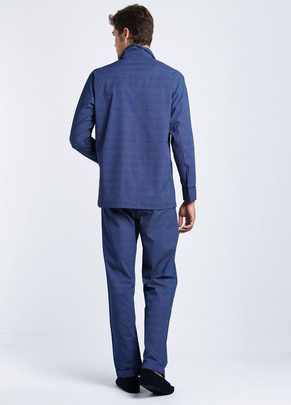Pijama LARGO dos piezas, pantalón largo con cinta no elástica y funda incluida, color azul con estampado topos, 100% Algodón. - Ítem2