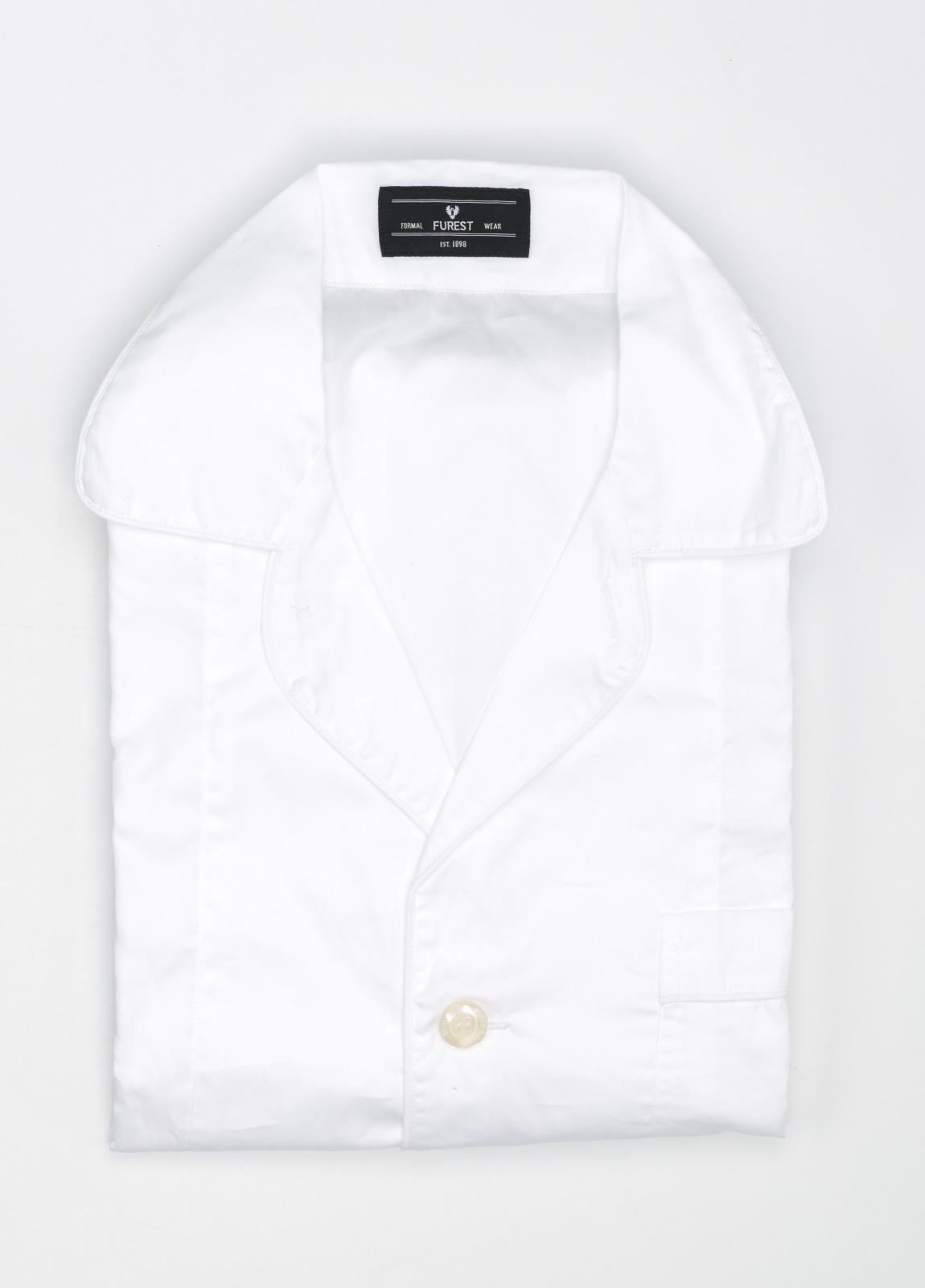 Pijama LARGO dos piezas, pantalón largo con cinta no elástica y funda incluida color blanco con vivos en blanco. 100% Algodón.