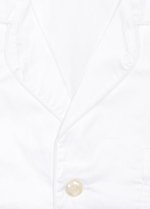 Pijama LARGO dos piezas, pantalón largo con cinta no elástica y funda incluida color blanco con vivos en blanco. 100% Algodón. - Ítem1