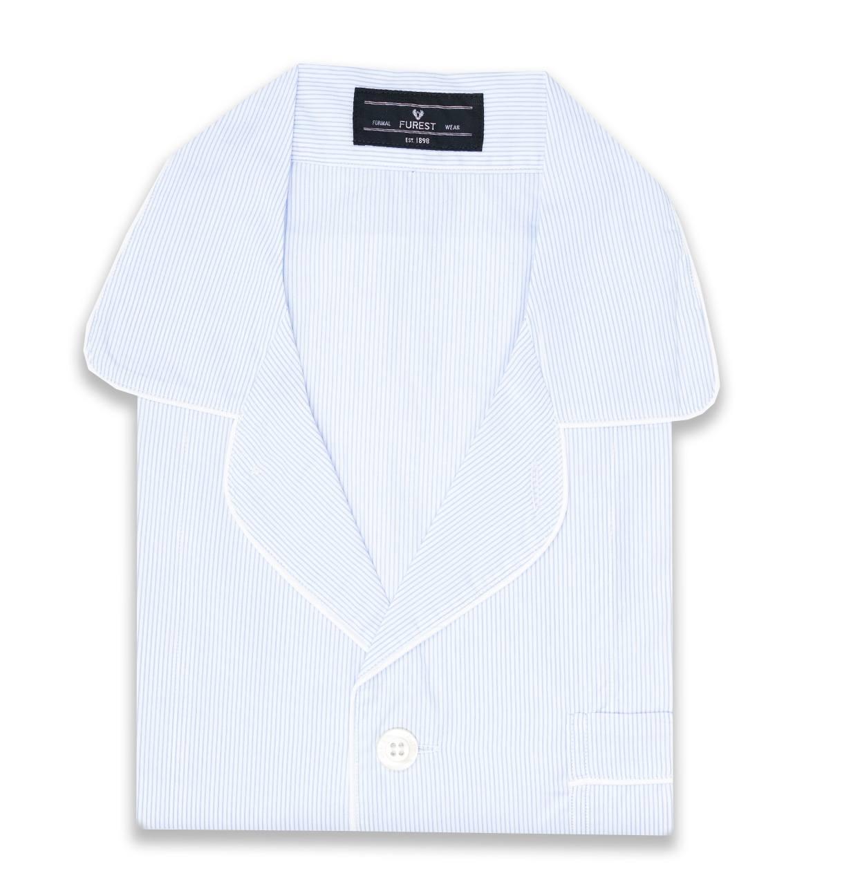 Pijama LARGO dos piezas, pantalón largo con cinta no elástica y funda incluida, color celeste con estampado de rayas, 100% Algodón.