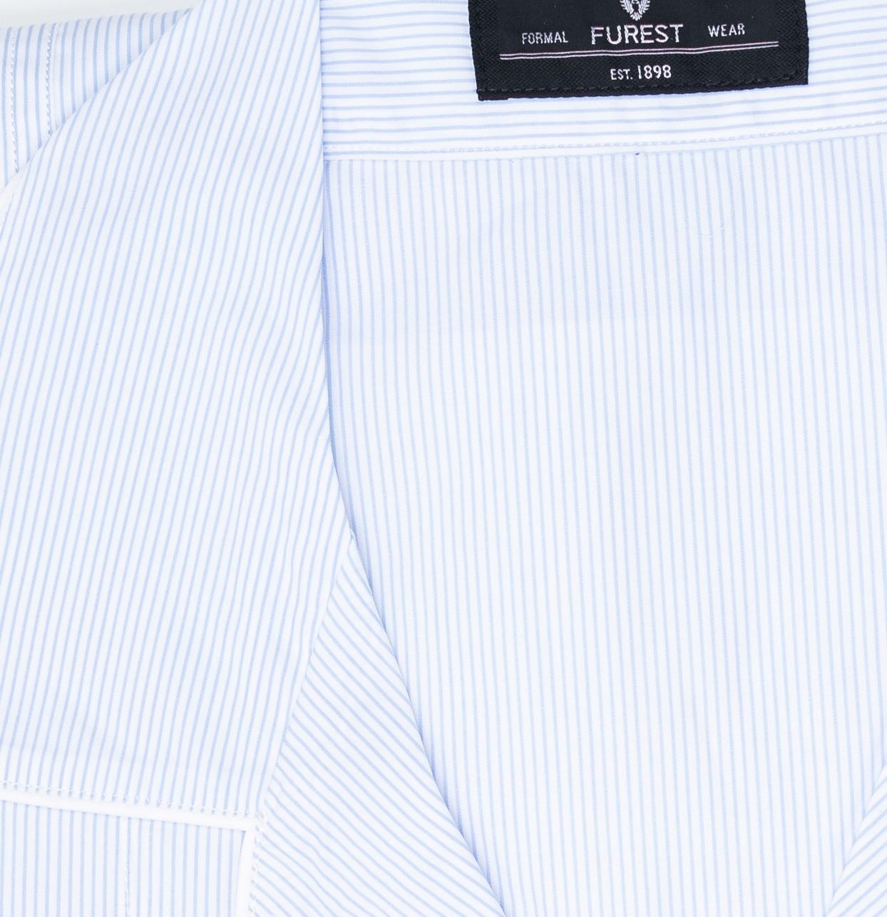 Pijama LARGO dos piezas, pantalón largo con cinta no elástica y funda incluida, color celeste con estampado de rayas, 100% Algodón. - Ítem2