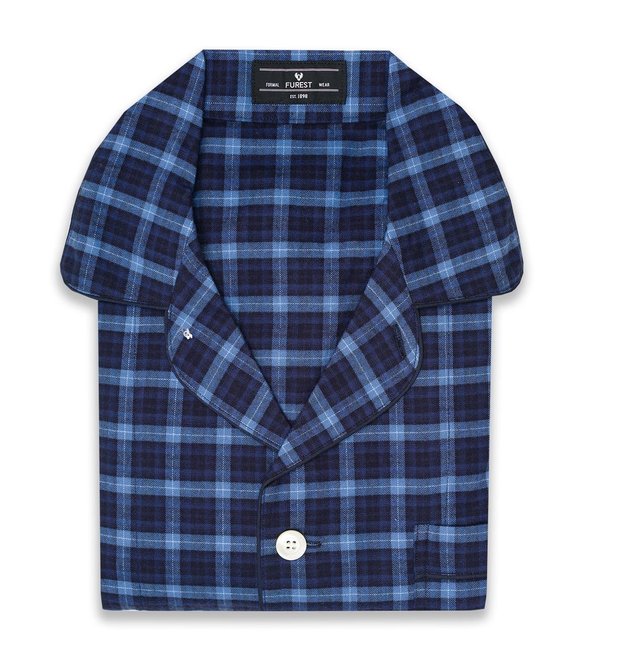 Pijama LARGO dos piezas, pantalón largo con cinta no elástica y funda incluida, color azul con estampado de cuadros, 100% Algodón.