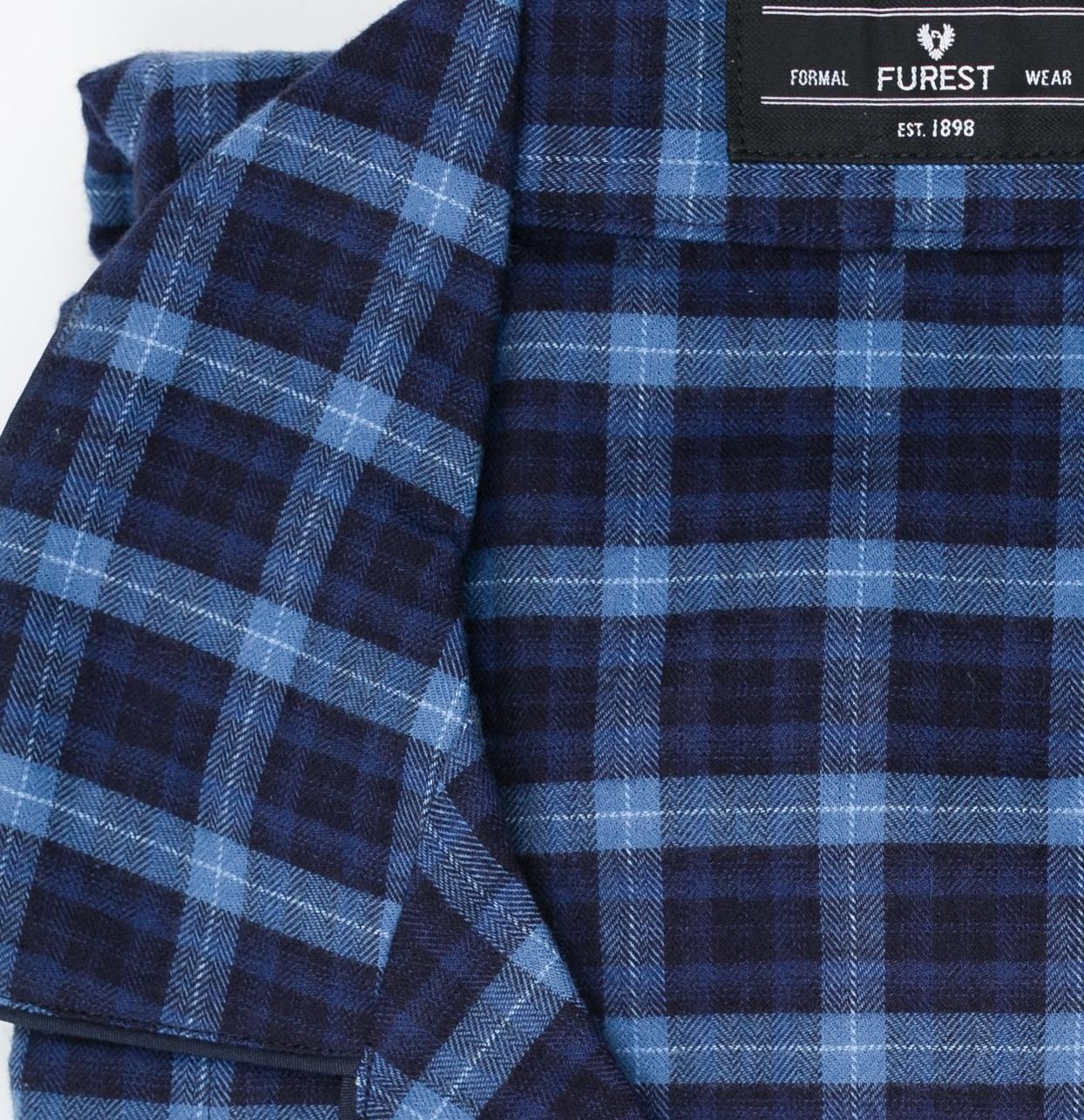 Pijama LARGO dos piezas, pantalón largo con cinta no elástica y funda incluida, color azul con estampado de cuadros, 100% Algodón. - Ítem1