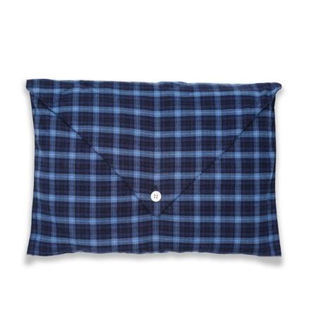 Pijama LARGO dos piezas, pantalón largo con cinta no elástica y funda incluida, color azul con estampado de cuadros, 100% Algodón. - Ítem2