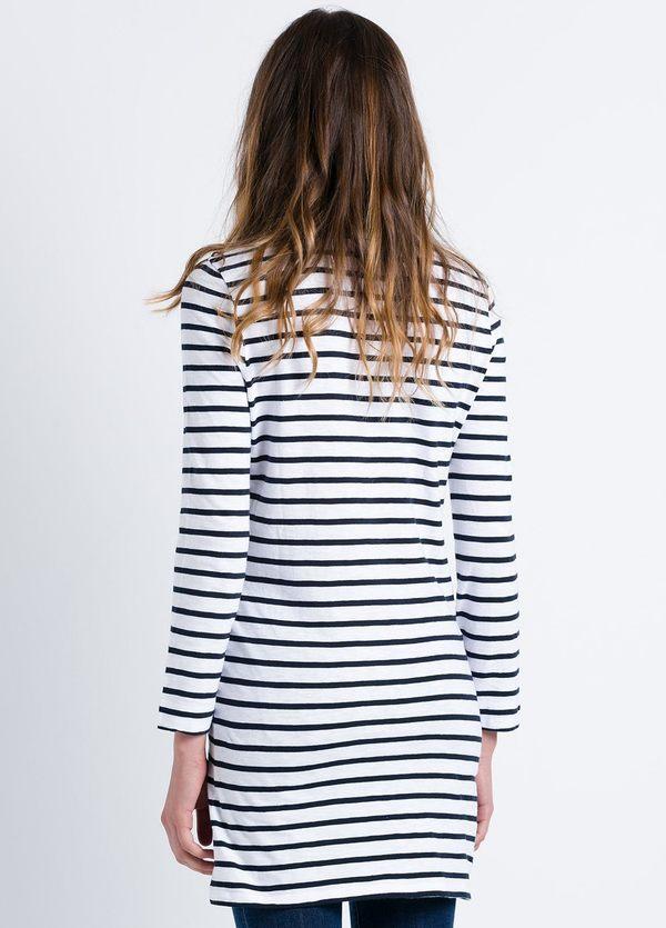 Vestido woman manga larga dibujo a rayas color blanco, 100% Algodón. - Ítem1