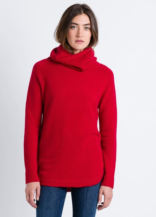 Jersey woman cuello cisne con detalles calados color rojo. Cashmer y Lana.